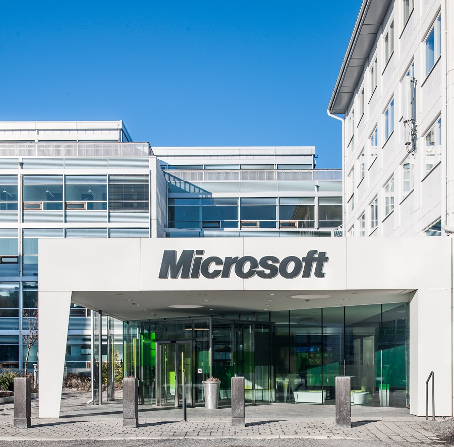 Huvudentré Microsofts kontor.