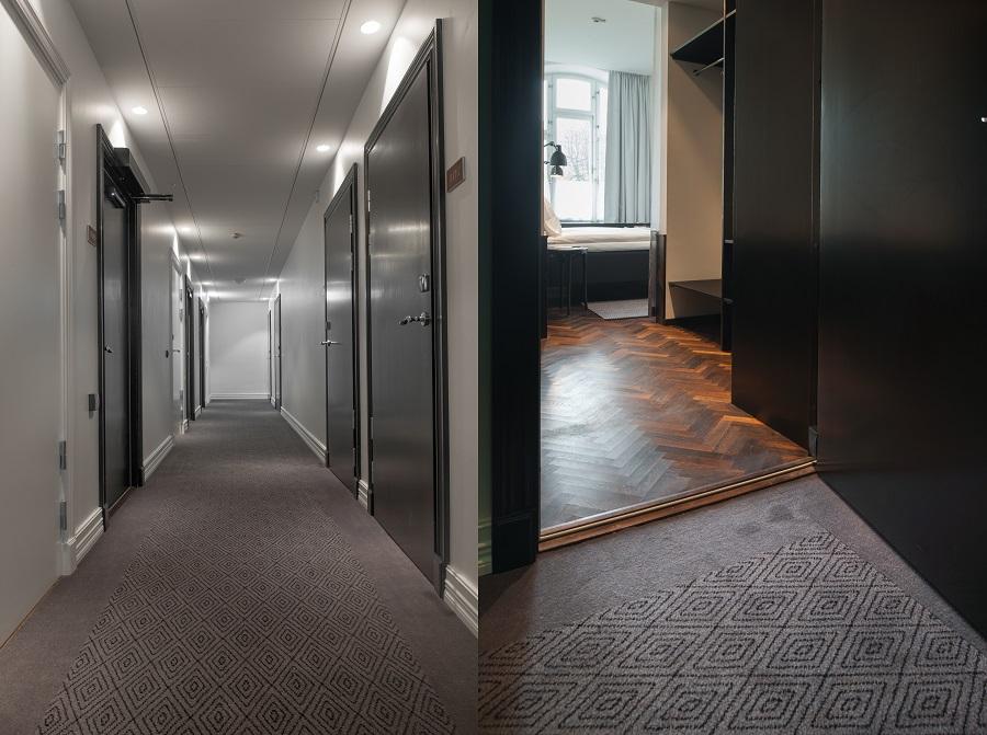 Heltäckande matta Aminster i specialmönster i korridorerna på Miss Clara hotel.