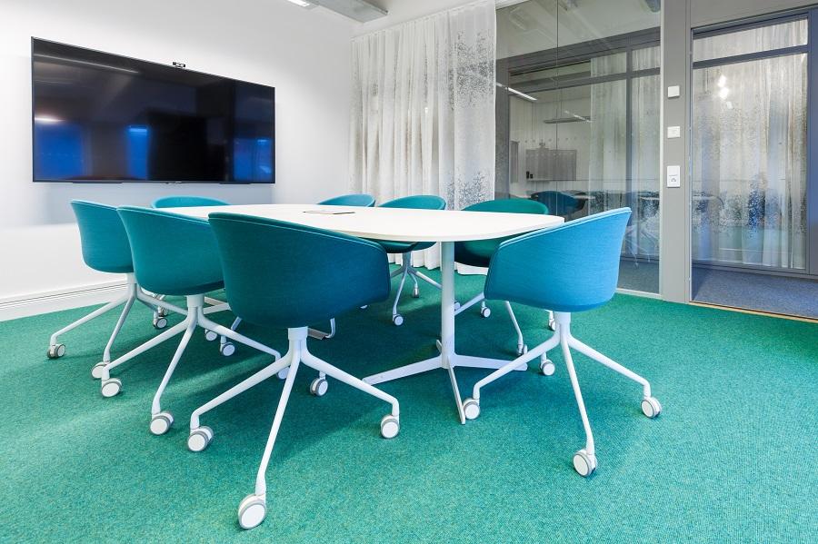 Heltäckande matta kvalitet Tretford på Elektas kontor, projekt av GWSK Arkitekter.