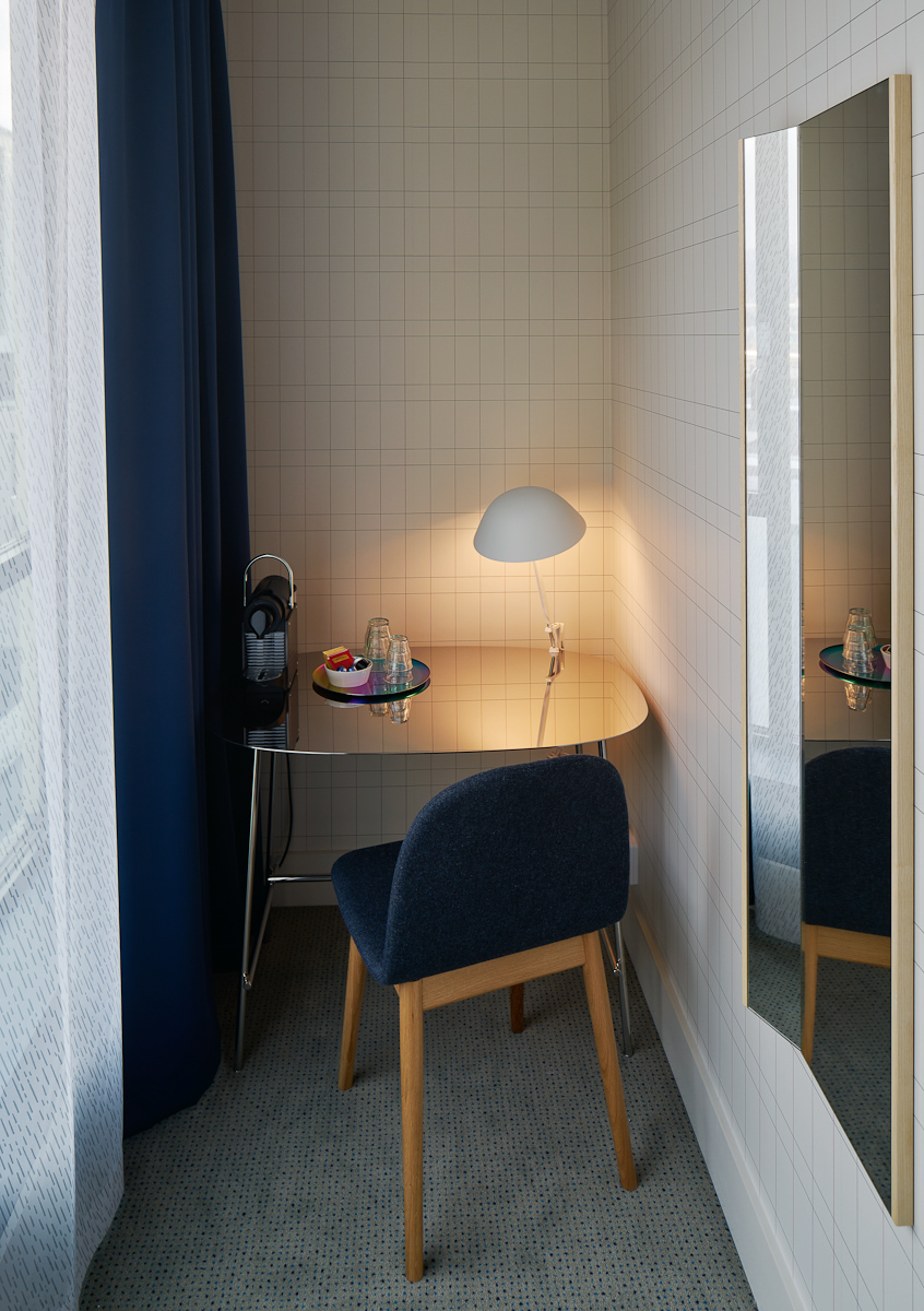 Printad matta Stardust i hotellrum på Hotel Zander K, Bergen, projekt av Claesson Koivisto Rune.