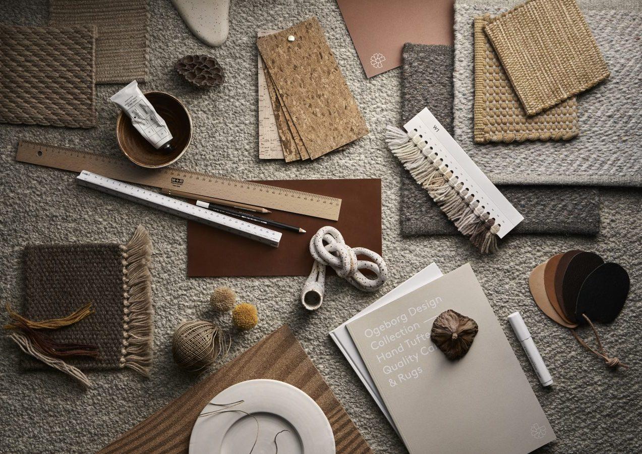 Handvävd mood board med produkter från Ogeborg Design Collection.