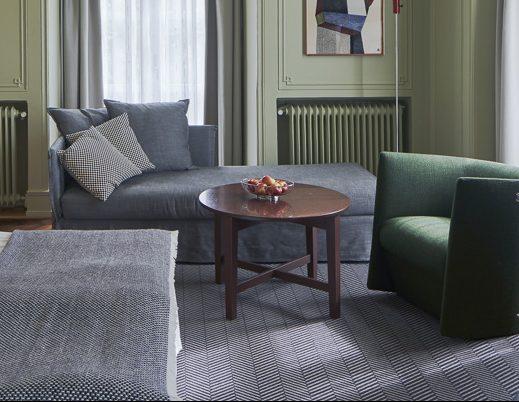 Printad matta i hotellrum på Grand Hotel Terminus i Bergen. Claesson Koivisto Rune Architects.